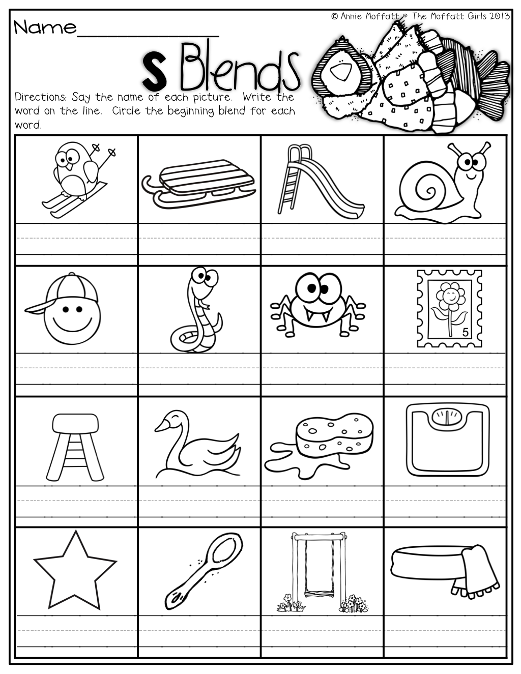 S Blend Worksheets