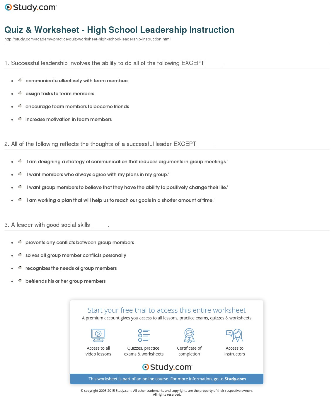 Social Skills Worksheets For High School Free Worksheets Library