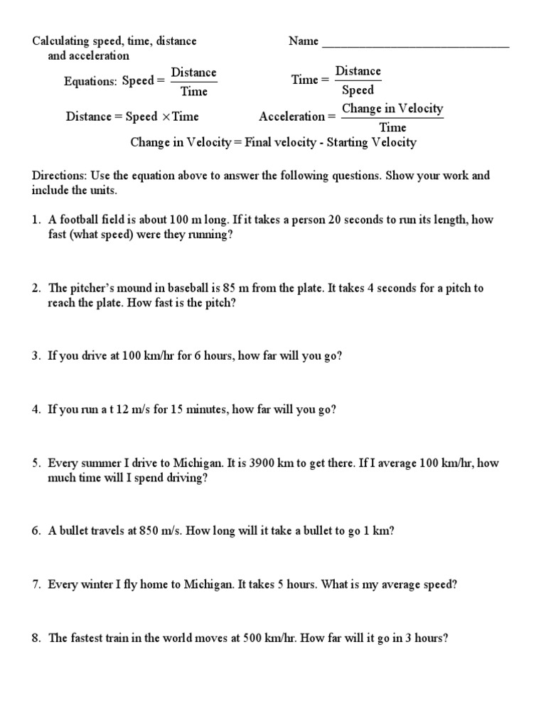 Speed Distance And Time Worksheets Worksheets For All
