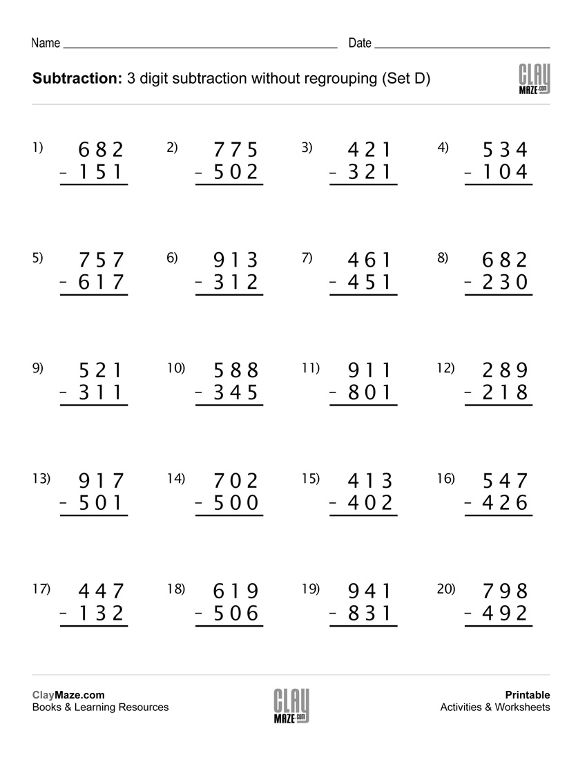 Subtraction Worksheet – 3 Digit Subtraction Without Regrouping