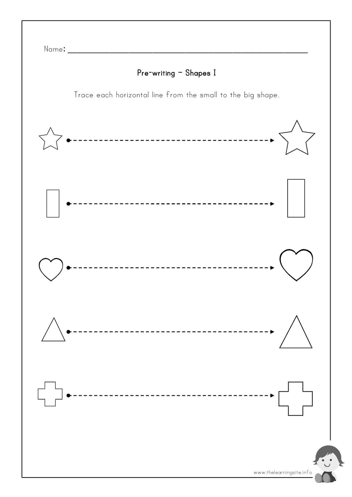 Tracing Straight Lines Worksheets