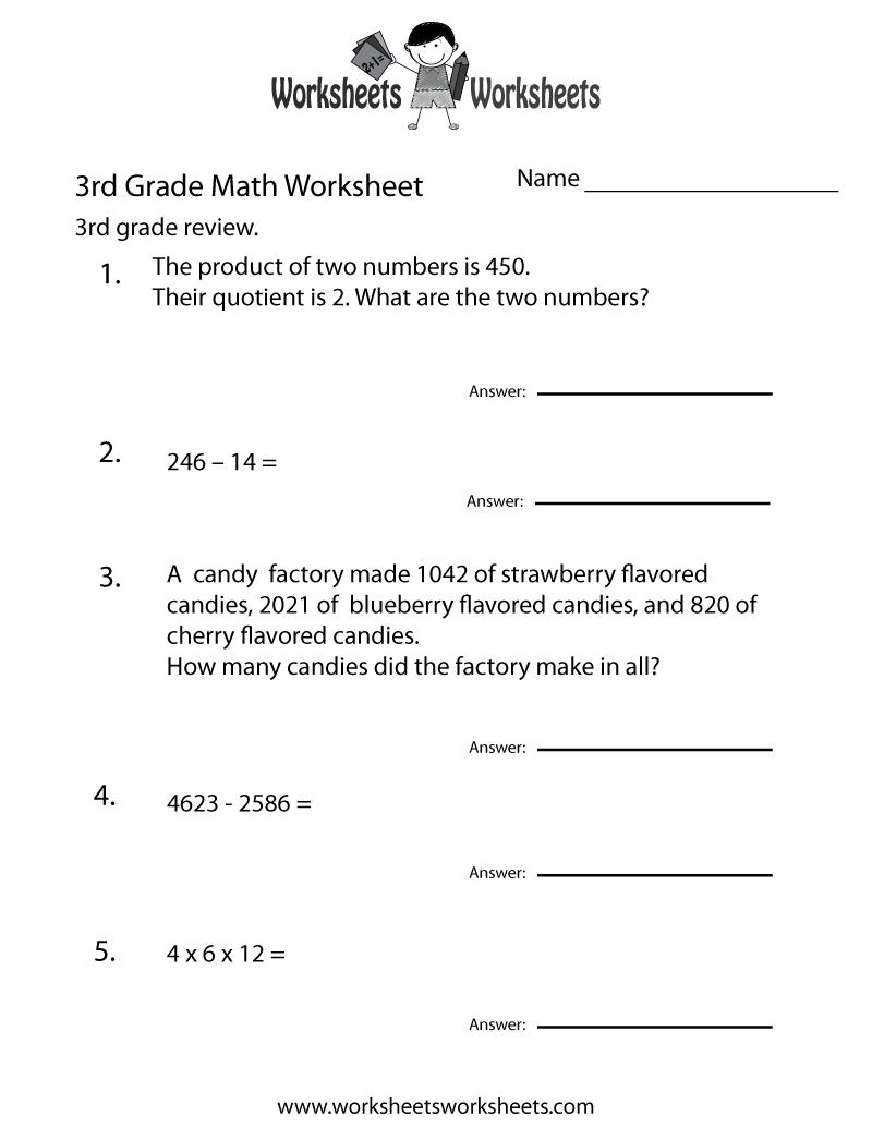 Third Grade Math Practice Worksheet