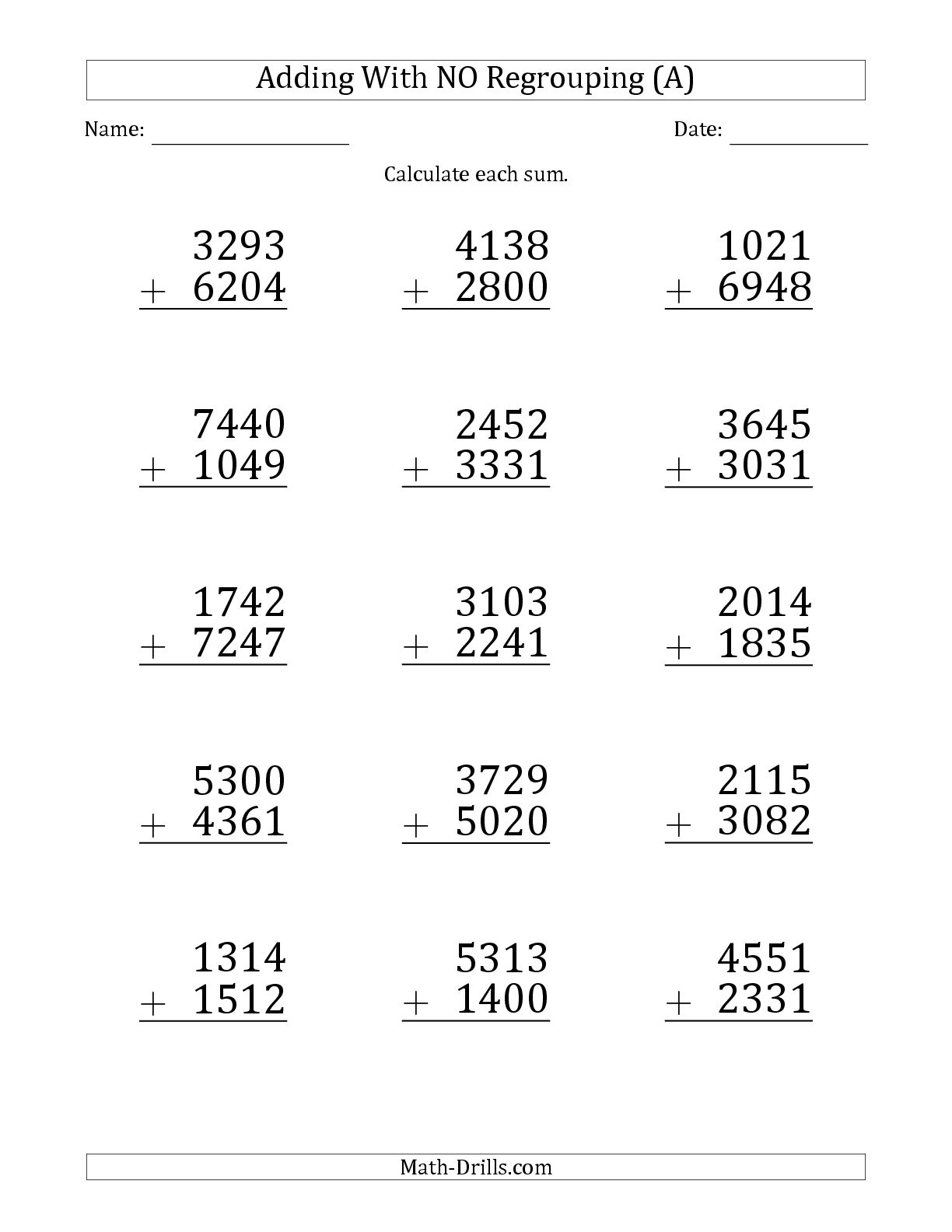 Three Digit Subtraction Worksheets Addition No Regrouping