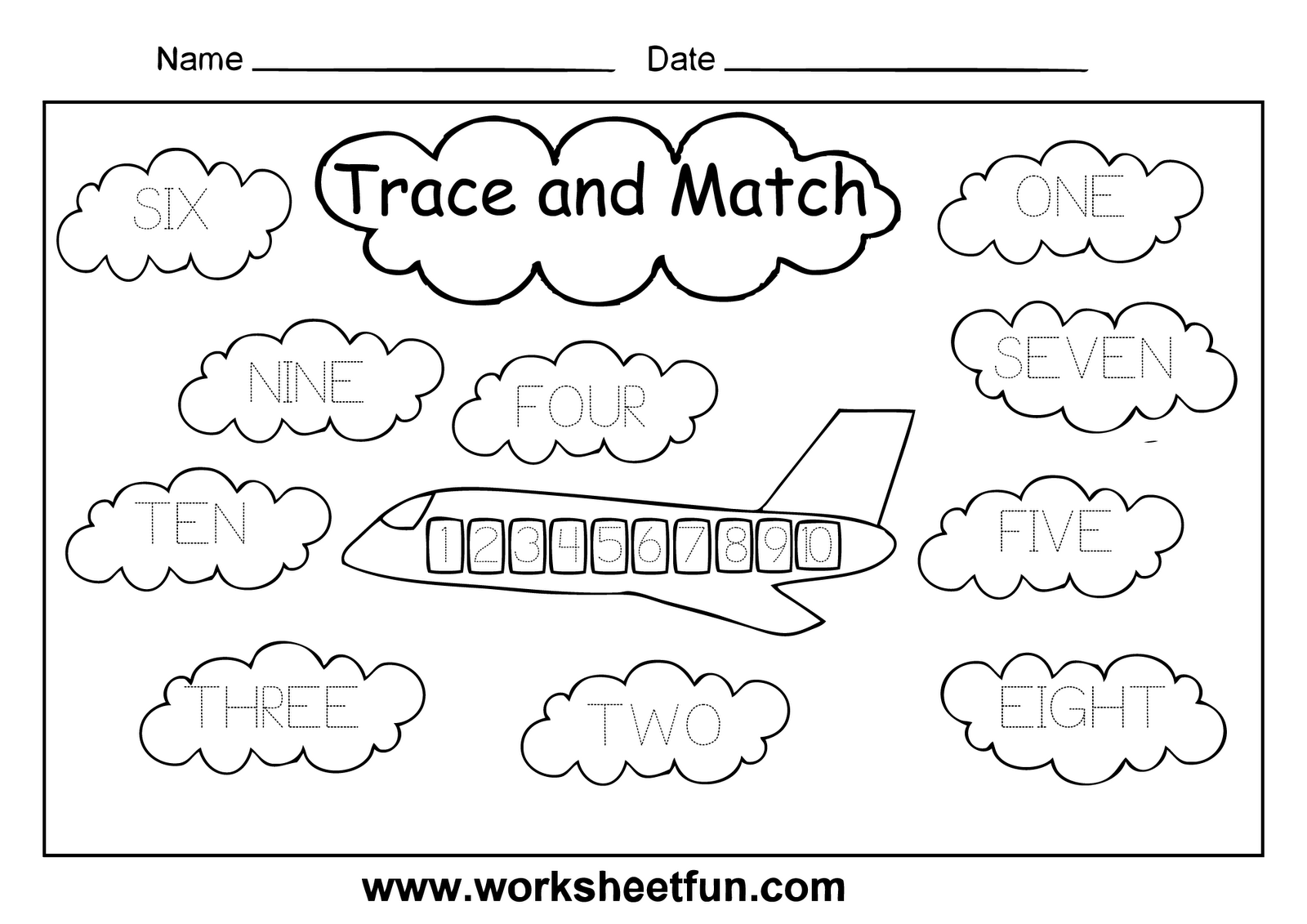 Trace Numbers 1 10 Worksheets Worksheets For All