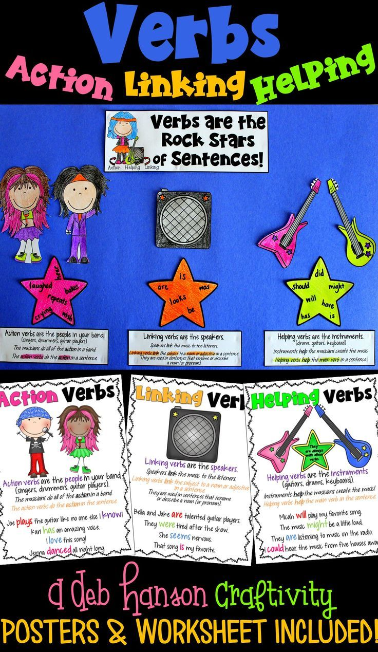 Verbs Craftivity  Action Verbs, Linking Verbs, And Helping Verbs
