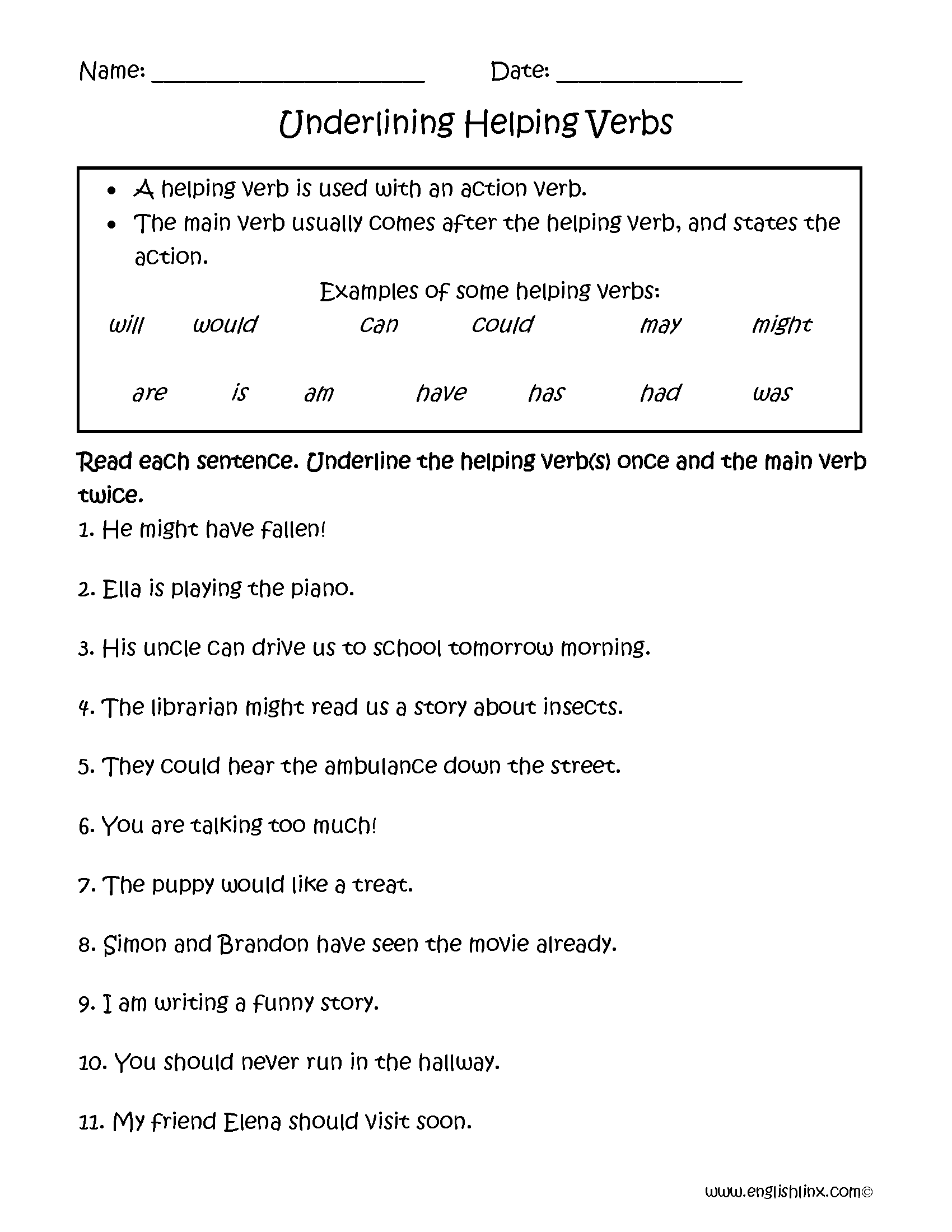 Verbs Worksheets Helping Kindergarten Noun And Verb Underlining