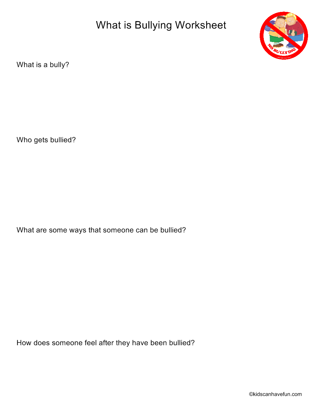 What Is Bullying Worksheet