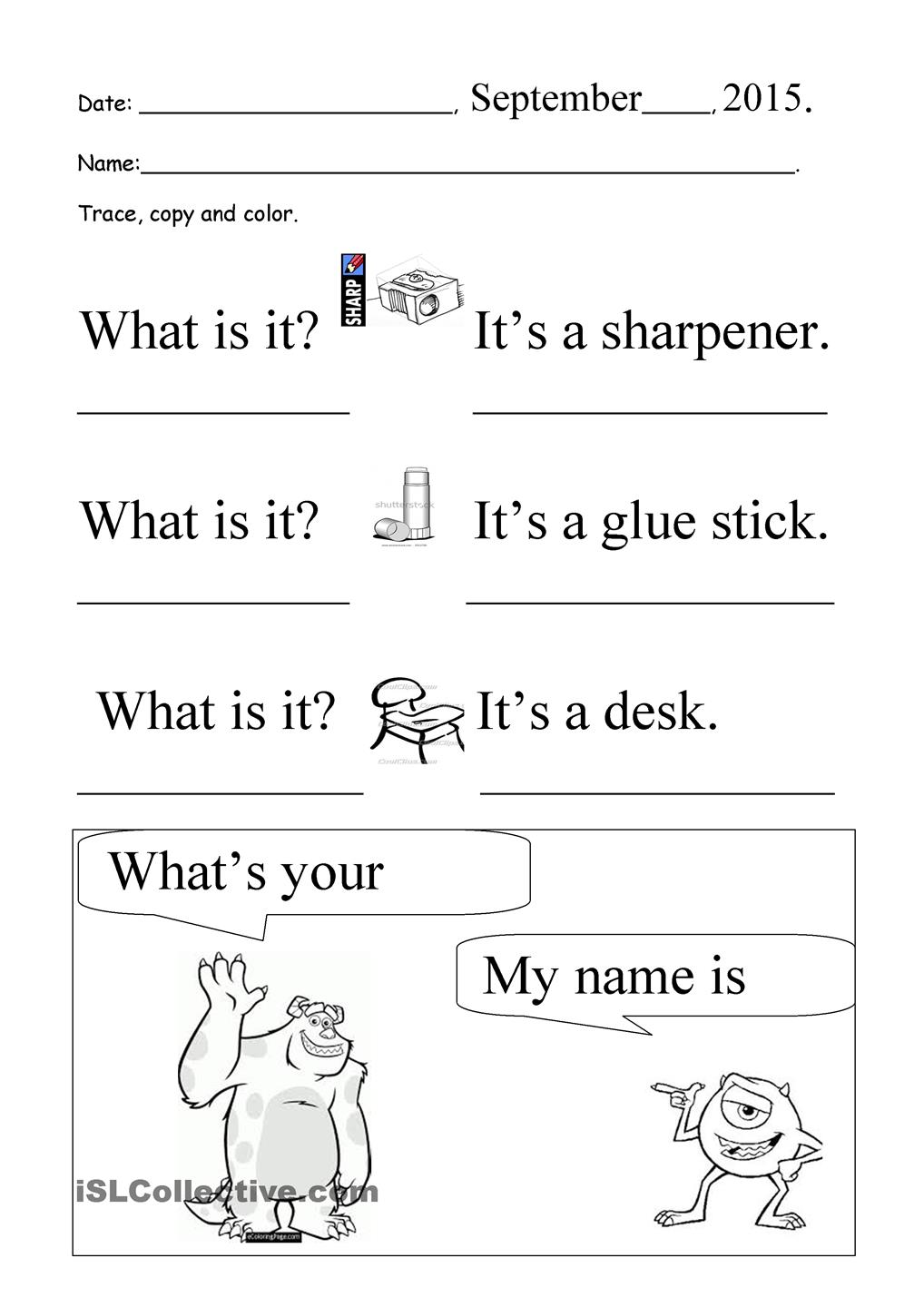 My Name Is Printable Worksheets