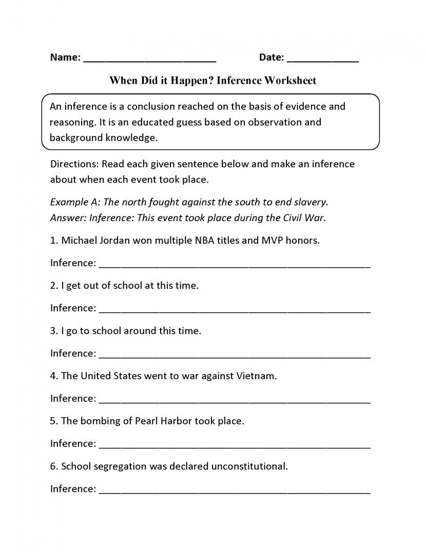 When Did It Happen Inference Worksheets Worksheets Samples Context Clues