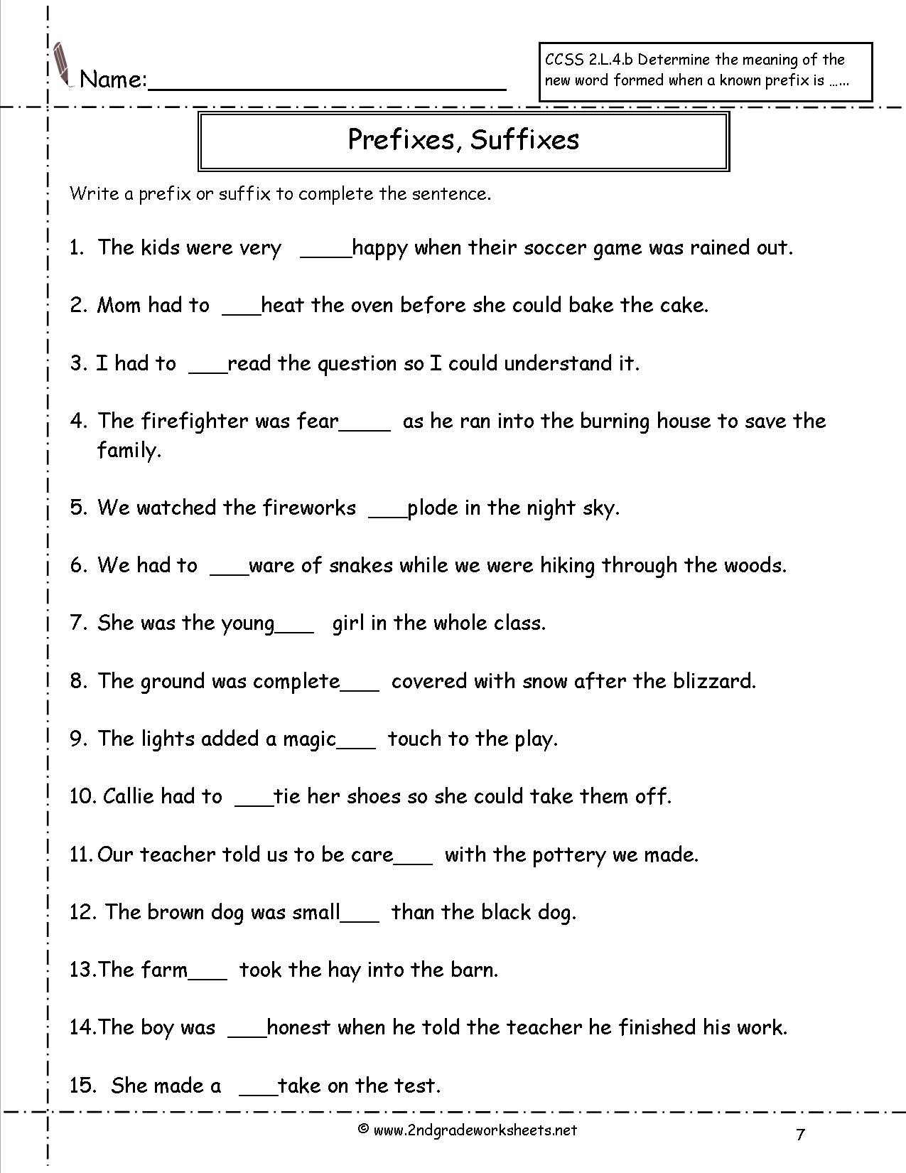 Worksheet  2nd Grade Prefixes And Suffixes Worksheets  Second