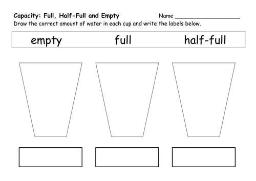 Worksheet  500354  Capacity Worksheets Kindergarten – Capacity