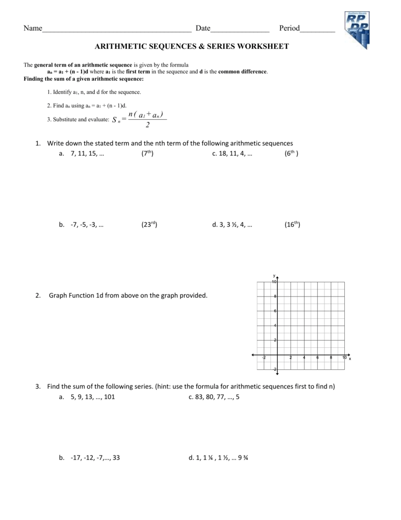 Worksheet Arithmetic Sequence & Series Word Problems – Worksheets ...