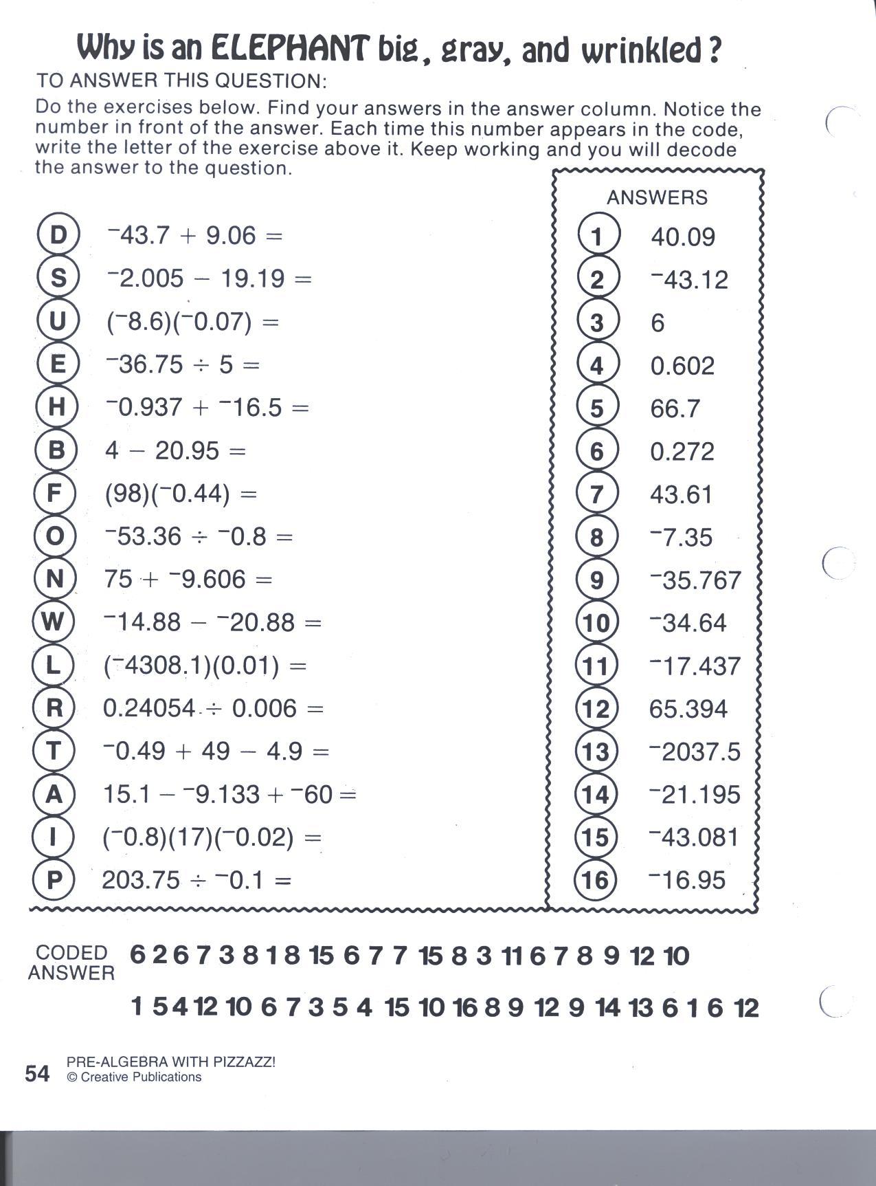 Worksheet  Pre Algebra Worksheets With Answers  Mytourvn Worksheet
