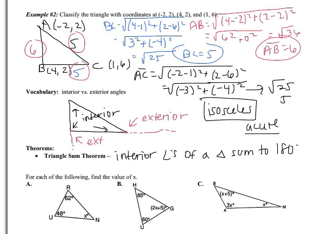 4 1 Worksheet Triangle Sum And Exterior Angle Theorem Answer Key Breadandhearth