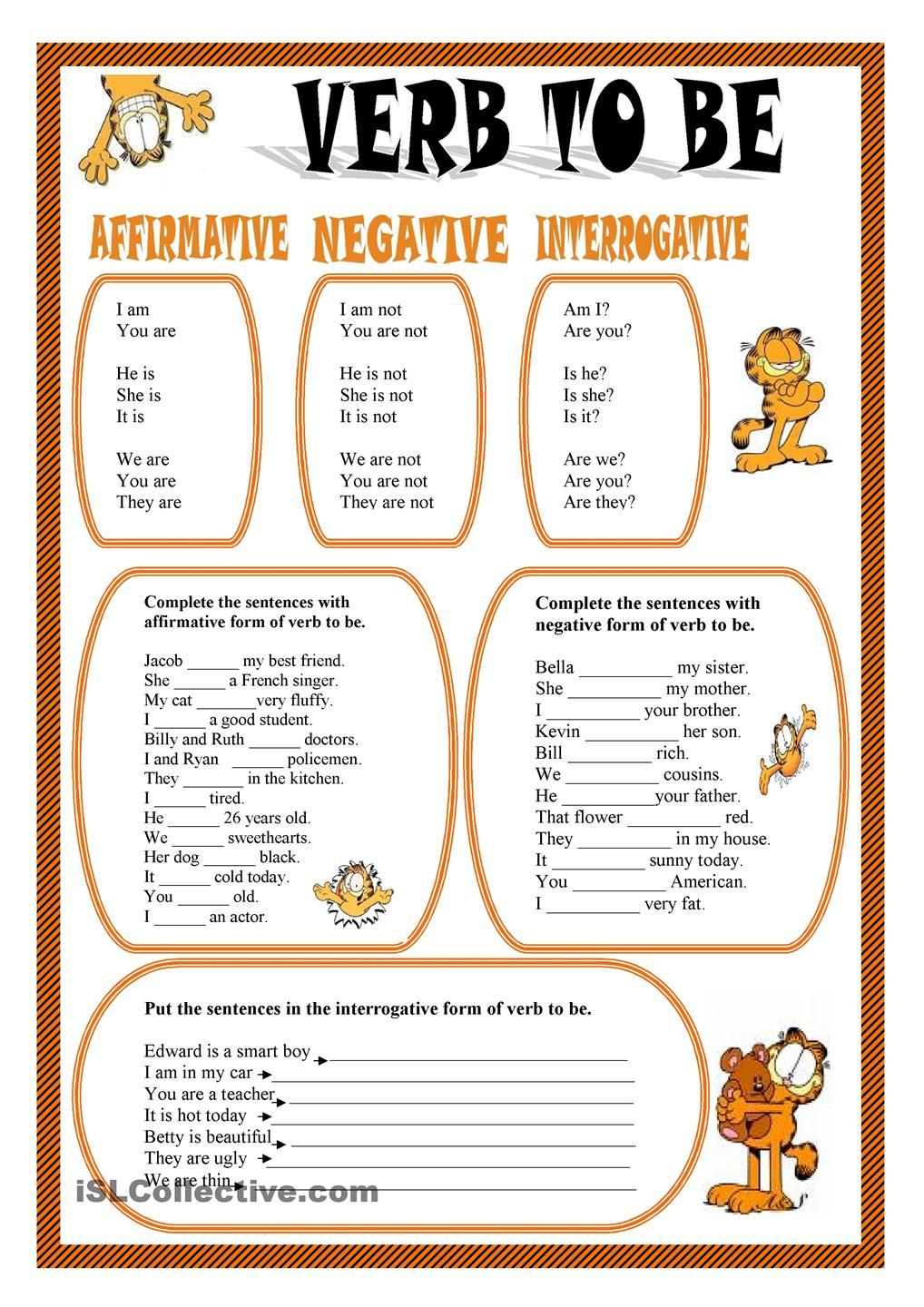 Worksheet Verb Be
