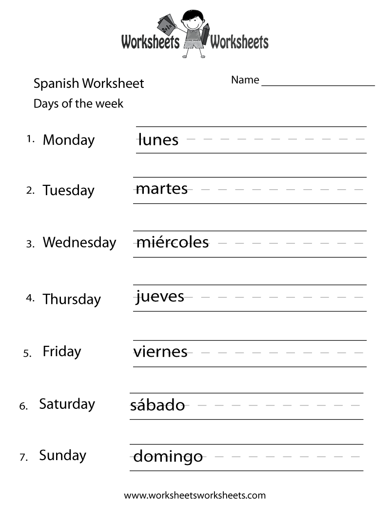 8th grade spanish worksheets. Black Bedroom Furniture Sets. Home Design Ideas