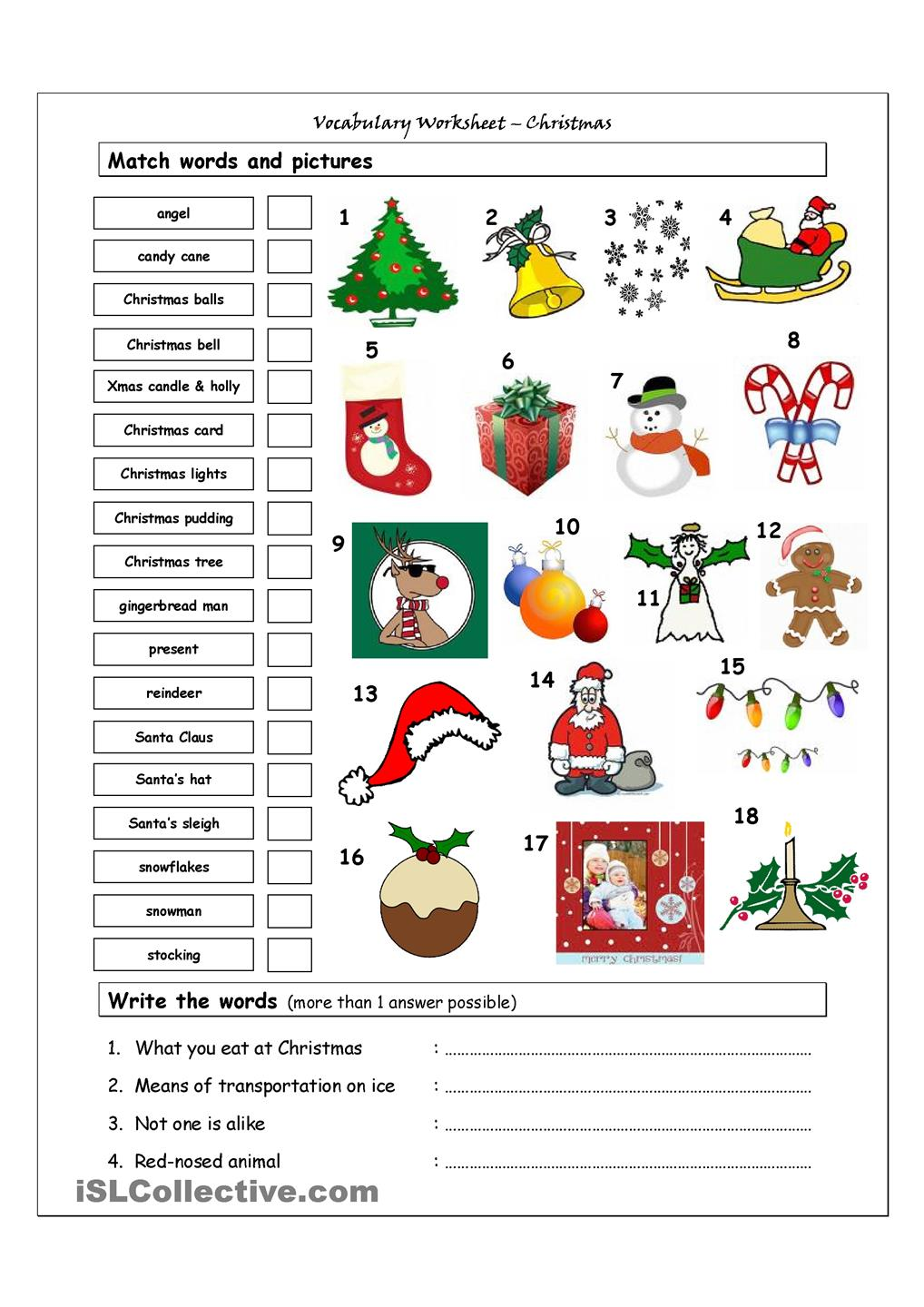 Worksheets On Christmas Worksheets For All