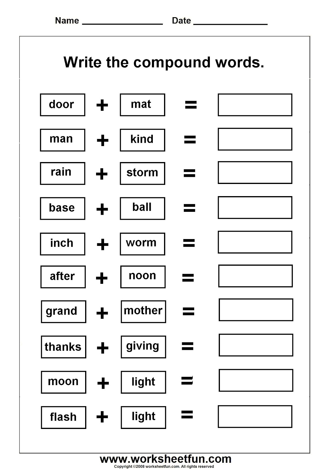 Worksheets On Compound Words With Pictures