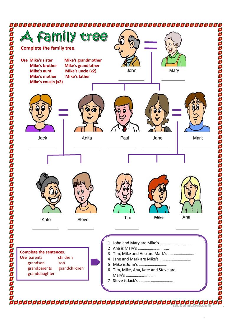 103 Free Esl Family Tree Worksheets