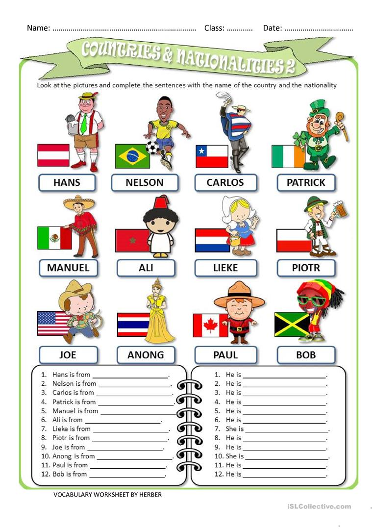 109 Free Esl Countries And Nationalities Worksheets