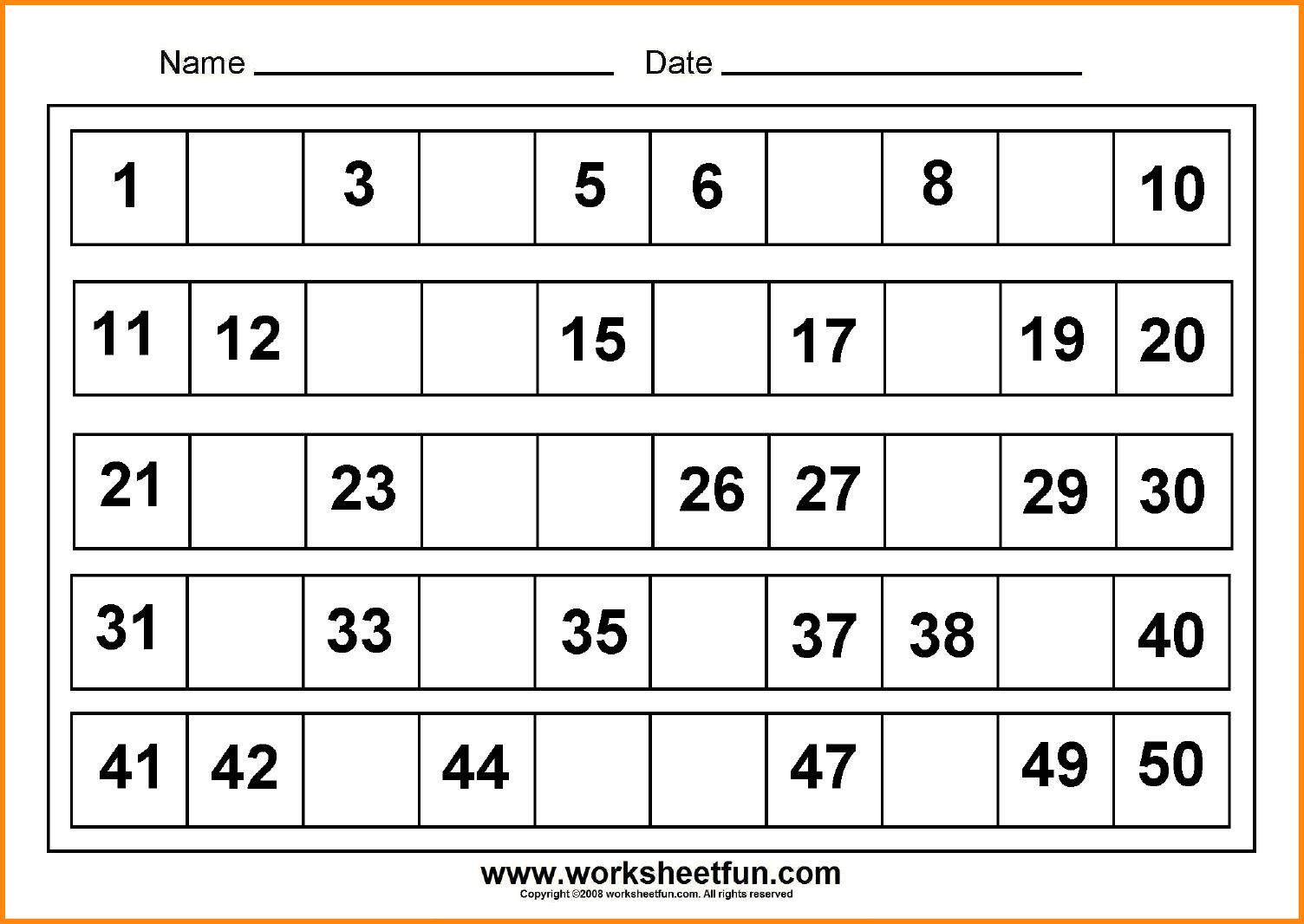 10 Missing Numbers Worksheets Media Resumed Kindergarten Number 1