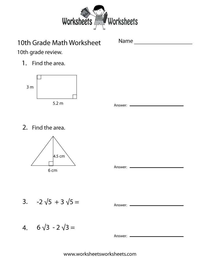10th Grade Math Worksheets
