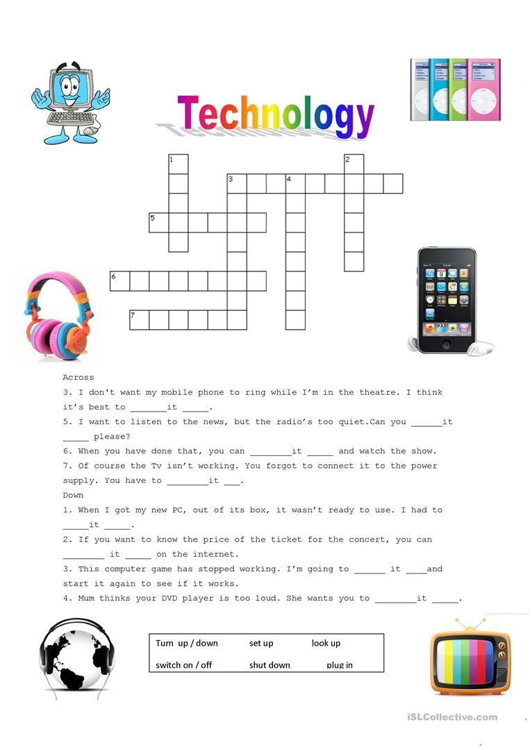 160 Free Esl Technology Worksheets
