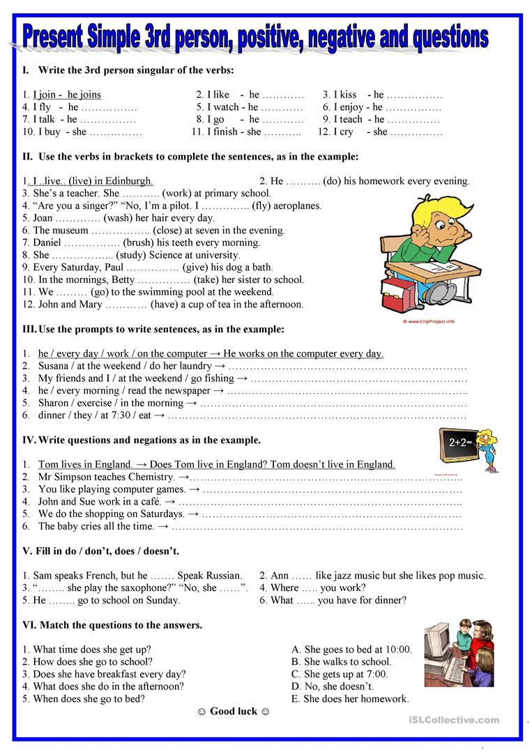 1959 Free Esl Present Simple Worksheets