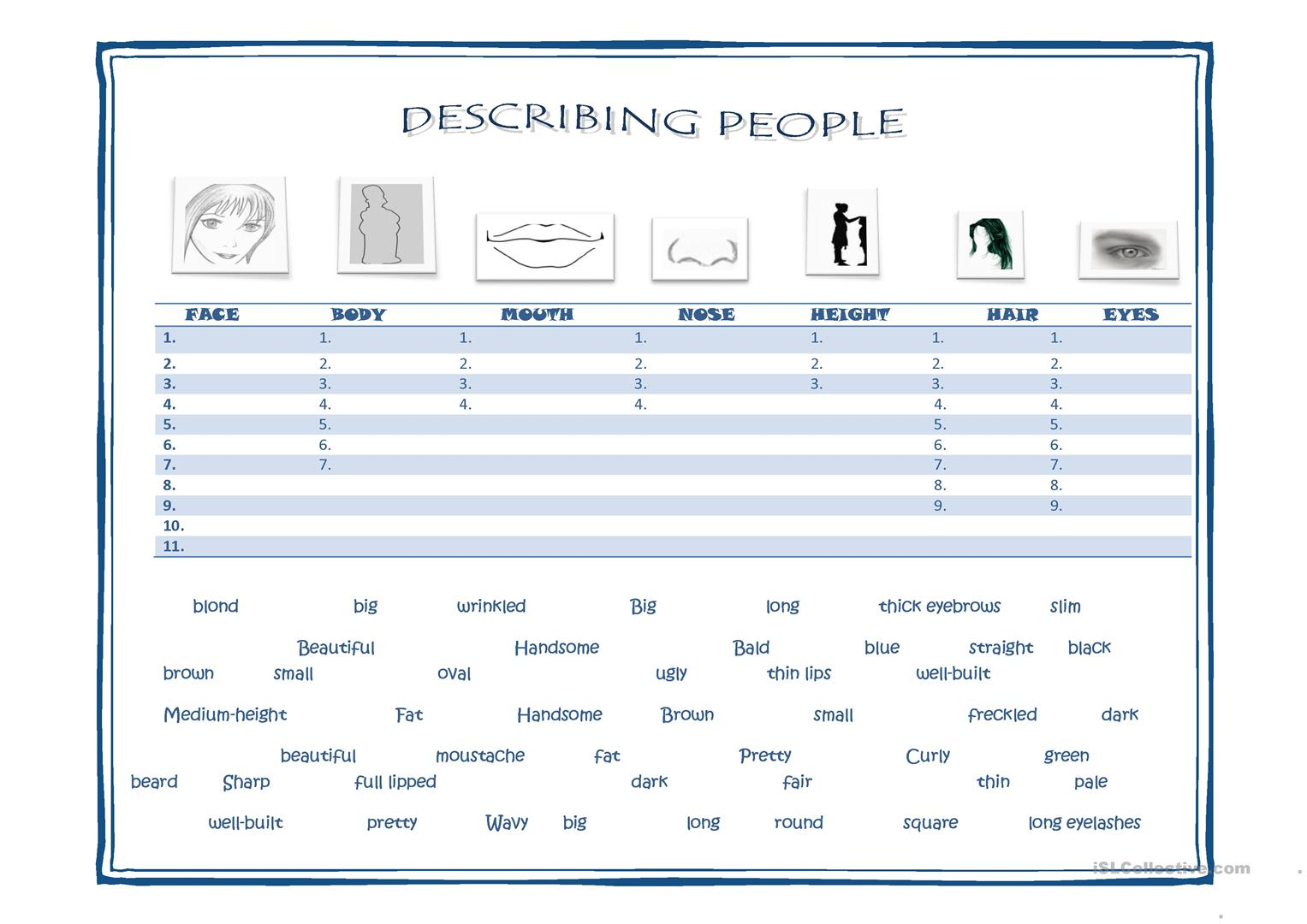 19 Free Esl Physical Appearance Worksheets