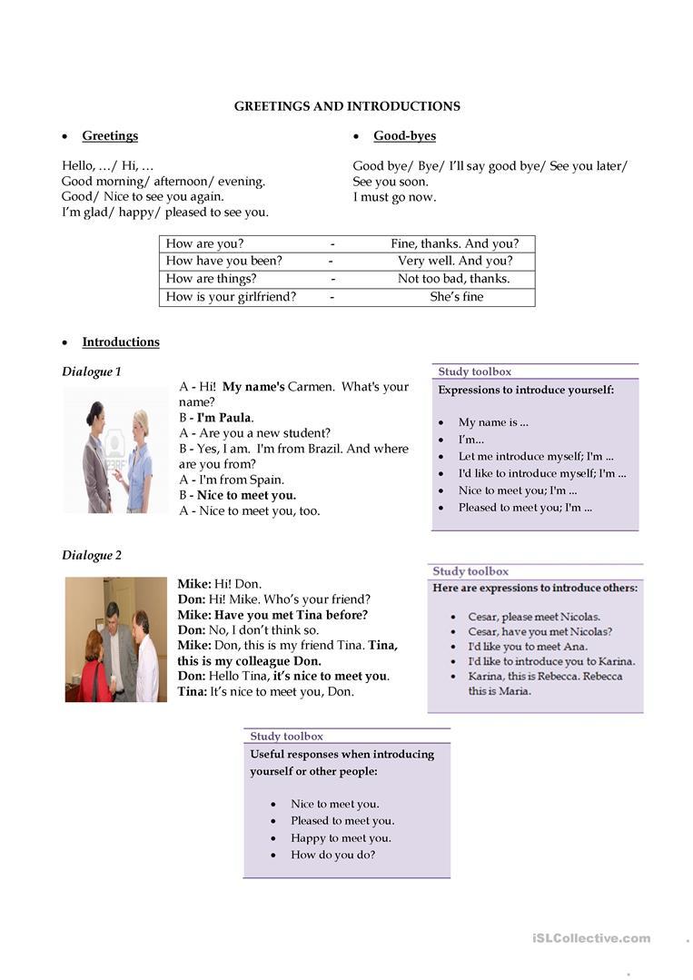 234 Free Esl Greetings Worksheets