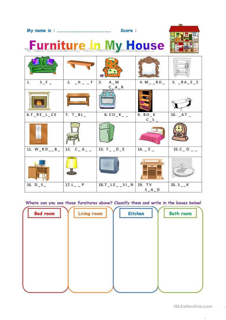 262 Free Esl Furniture Worksheets