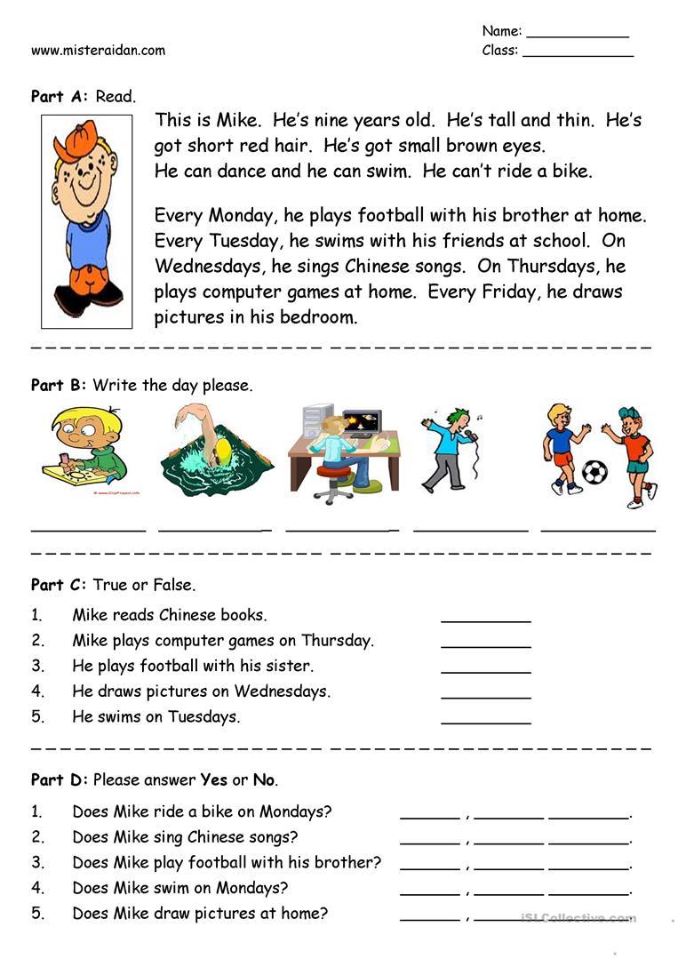 26 Free Esl Easy Reading Worksheets