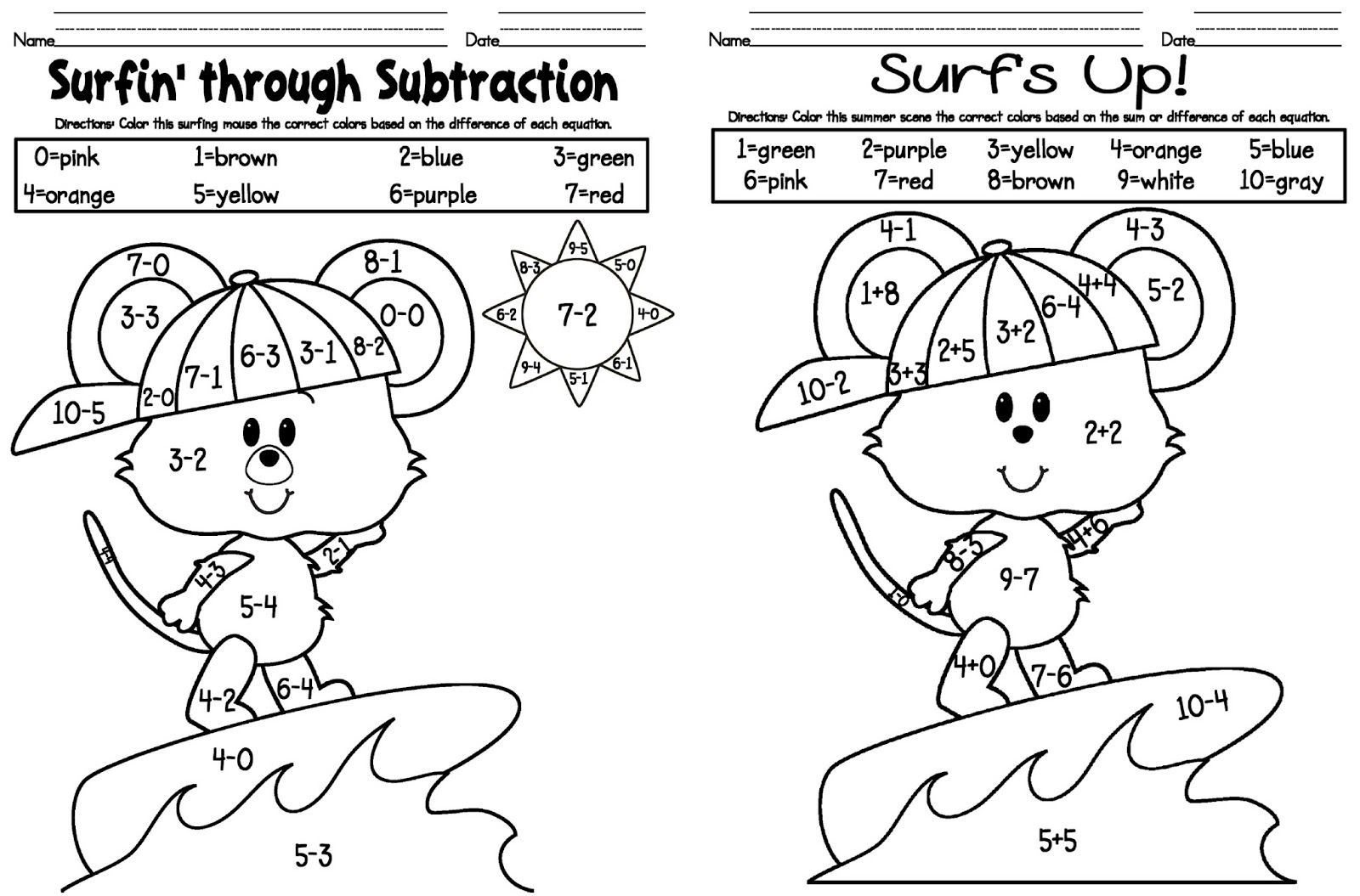 2nd Grade Math Coloring Worksheets Easy Fun Simple