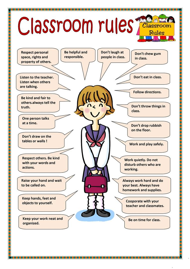 34 Free Esl Classroom Rules Worksheets