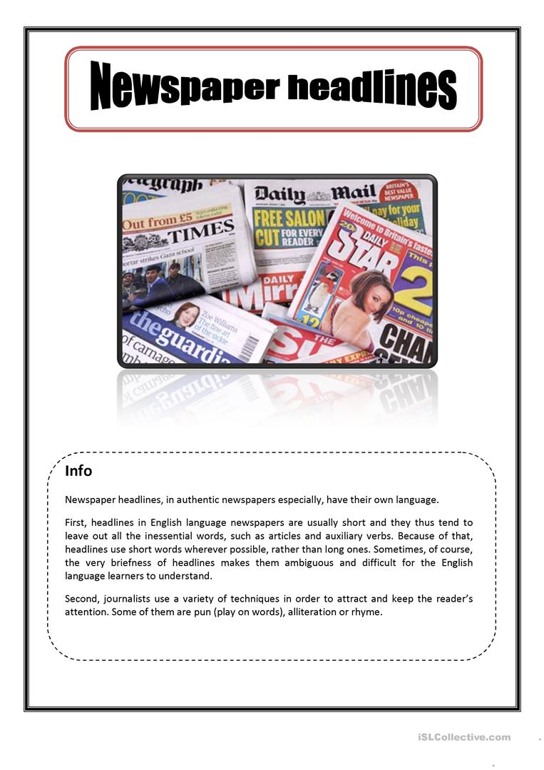 37 Free Esl Newspaper English Worksheets