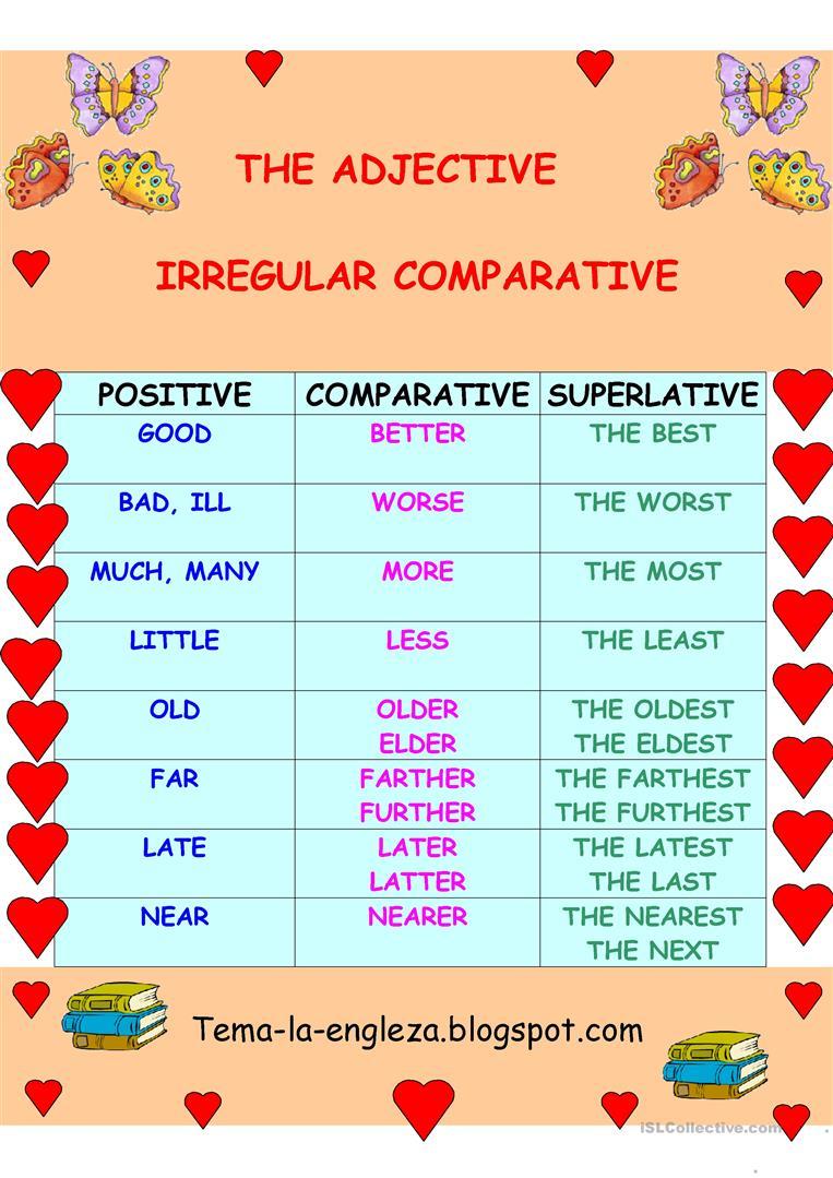 Irregular Adjectives Worksheets