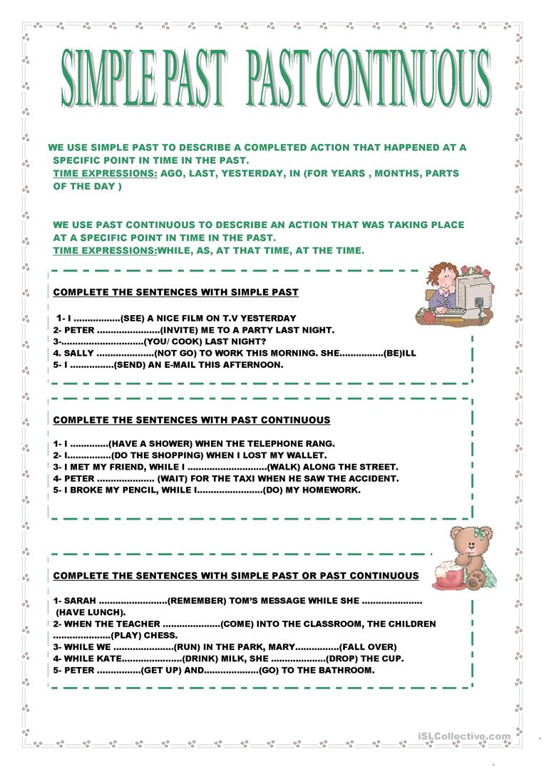 403 Free Esl Past Continuous Worksheets