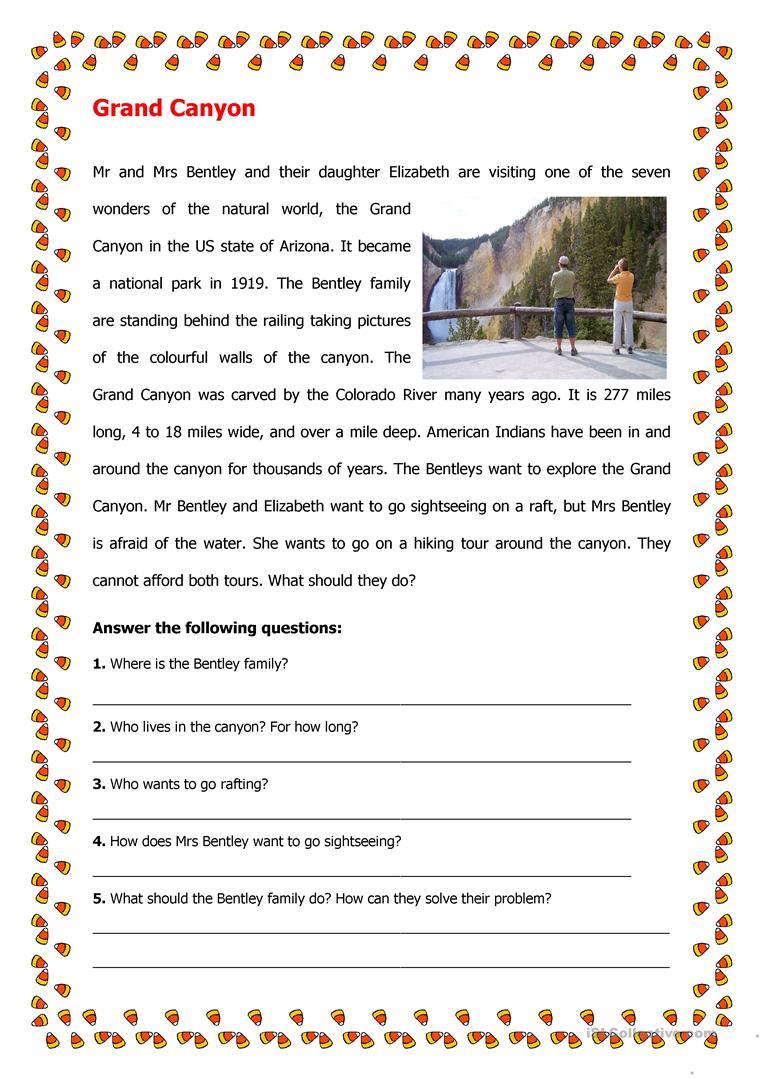 4 Free Esl Grand Canyon Worksheets