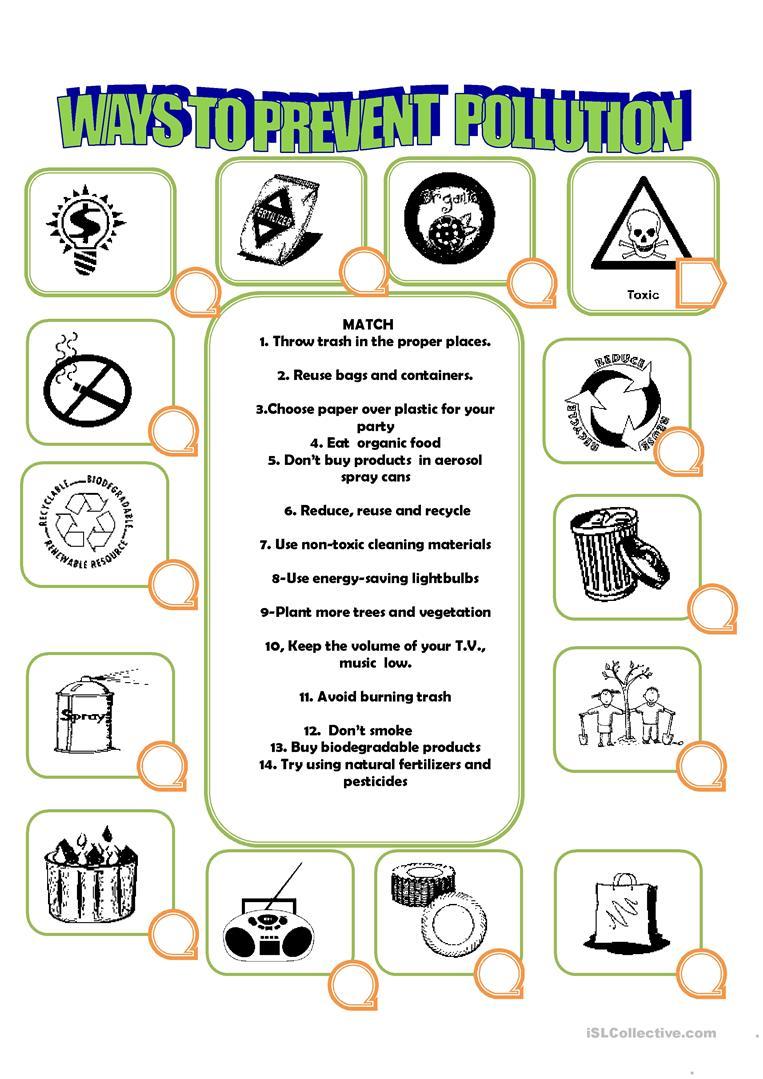 55 Free Esl Pollution Worksheets