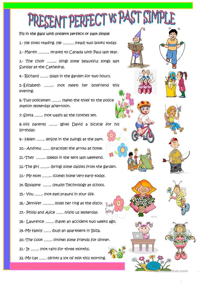 63 Free Esl Past Simple Vs Present Perfect Worksheets