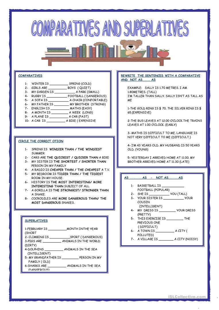 659 Free Esl Comparison (comparative And Superlative) Worksheets