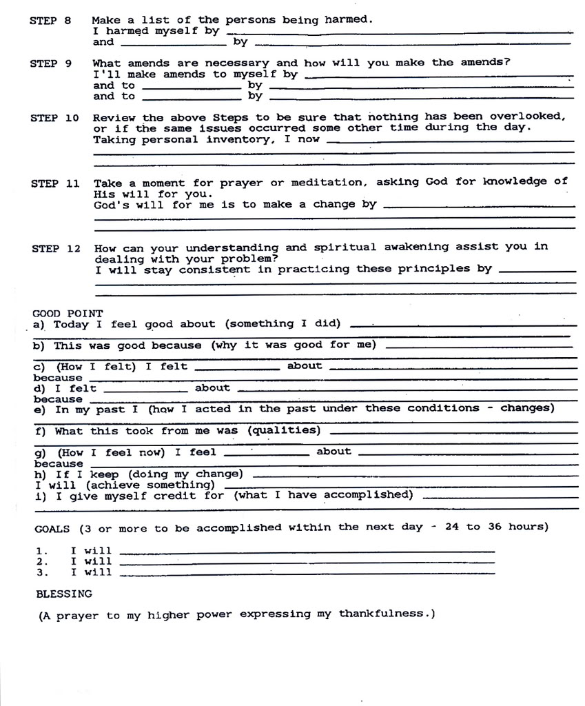 Aa Tenth Step Worksheet Worksheets For All