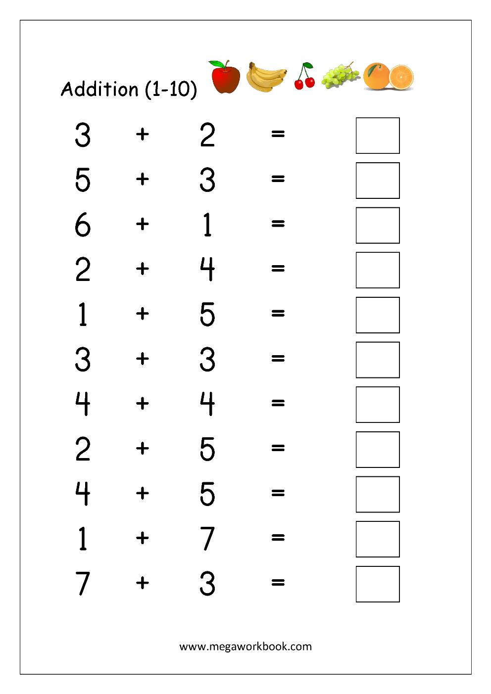 Addition 1 To 10 Worsheet 01 Year Math Worksheets Free Number