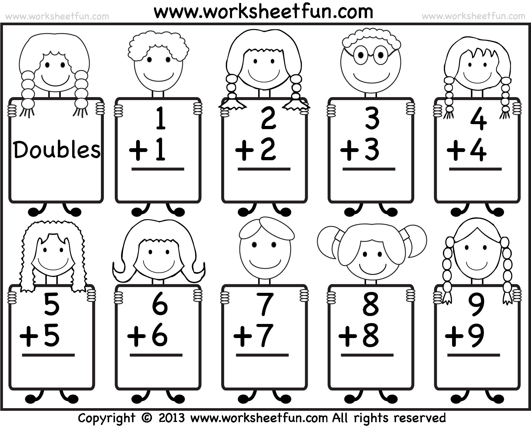 Addition Doubles Worksheets Worksheet Math Grade Together Maths