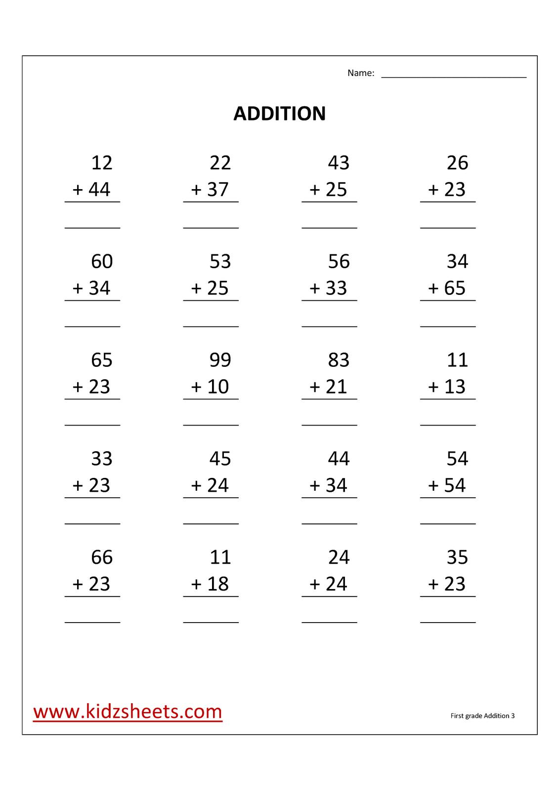 Addition Worksheets For Grade 3