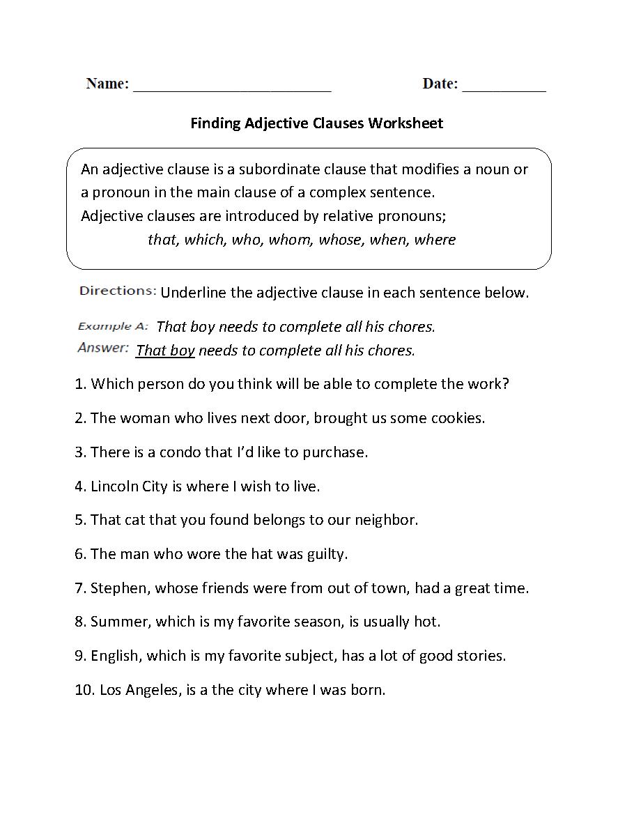Adjective Worksheet Middle School Printable