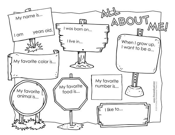 All About Me Printable Worksheet  Worksheets  Tataiza Free