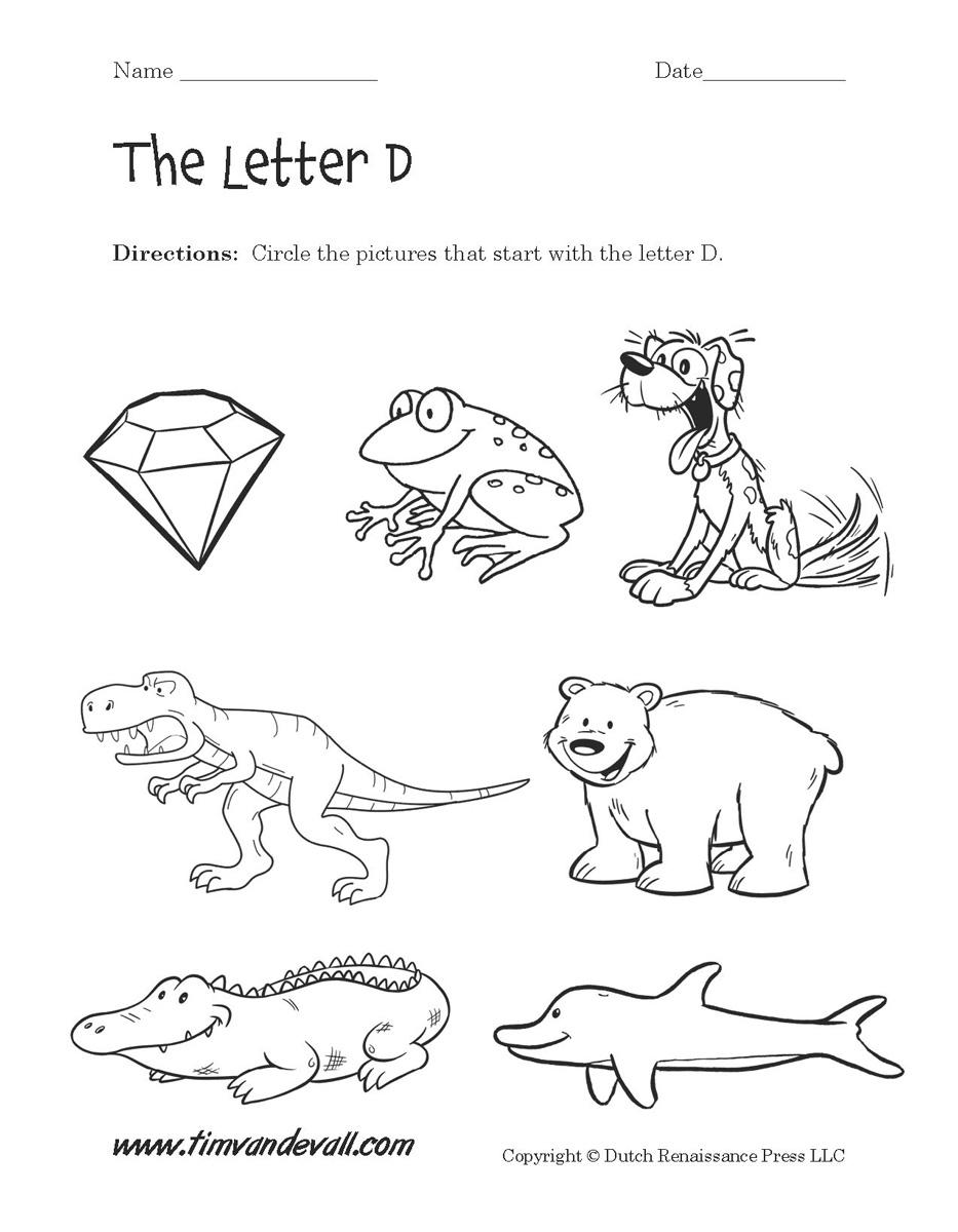 Alphabet Letter D Worksheets
