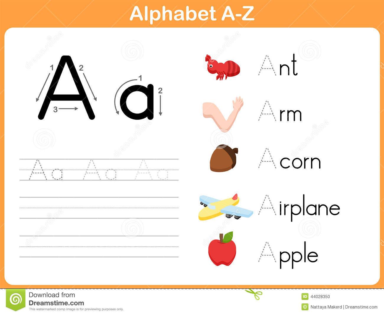 Alphabet Tracing Worksheet Stock Vector  Illustration Of Literacy