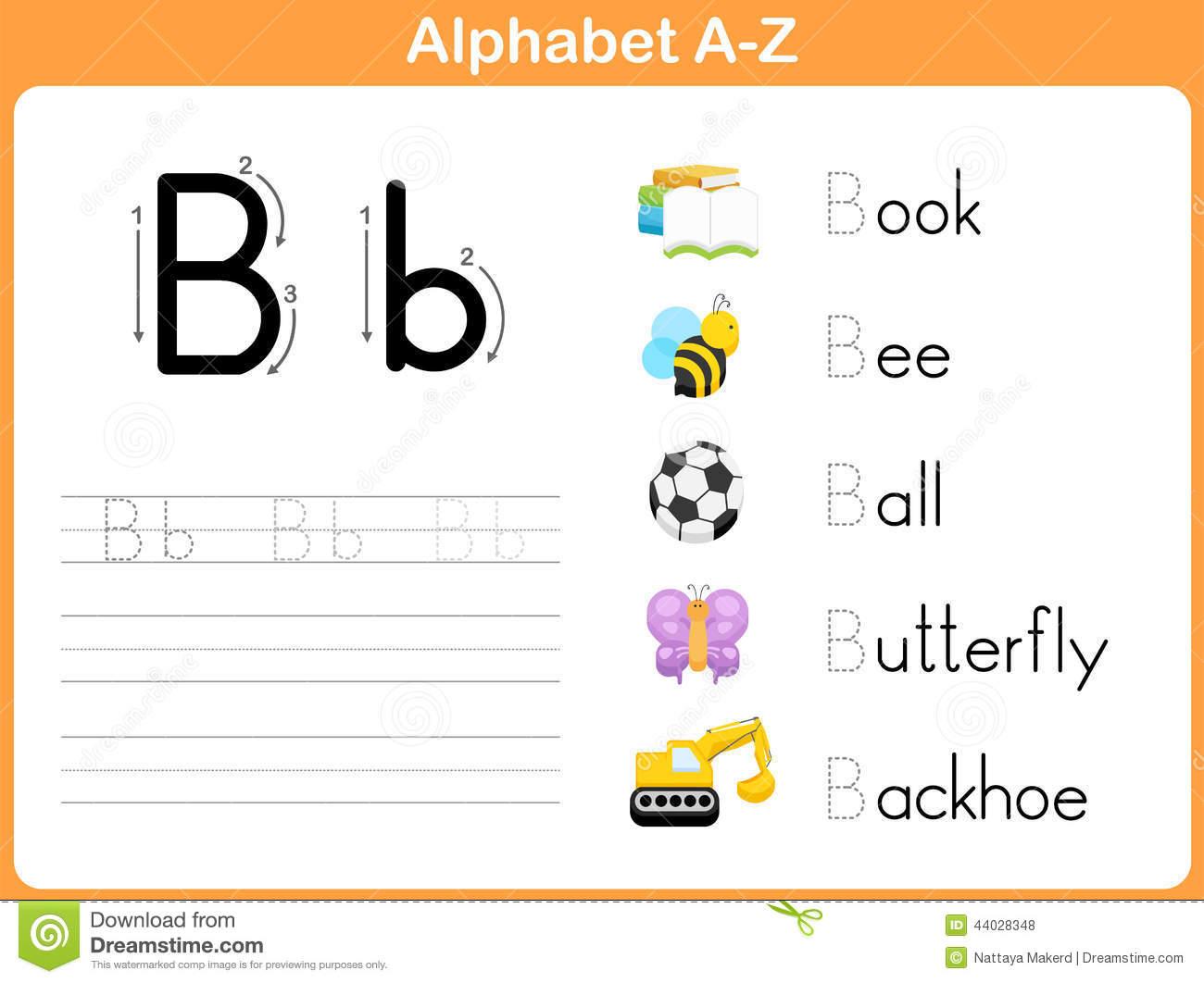 Alphabet Tracing Worksheet Stock Vector  Illustration Of Spelling